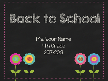Editable Meet the Teacher/Back to School Night Powerpoint