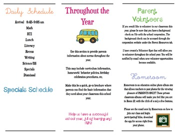 Editable Meet the Teacher Brochure (Mac Version)