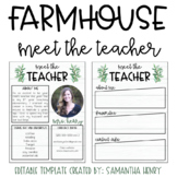 Editable Meet the Teacher - Farmhouse Theme