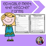 Editable Meet the Teacher Forms