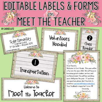 Editable Meet the Teacher Forms ~ Watercolor Floral