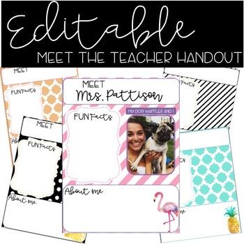 Editable Meet the Teacher Handwork