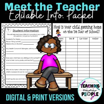 Editable - Meet the Teacher Information / Welcome Packet