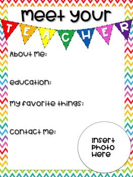 Editable Meet the Teacher Letter - Bright Rainbow Chevron