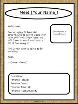 Editable Meet the Teacher Letter - Burlap