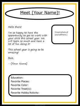 Editable Meet the Teacher Letter - Charlie Brown Tribute Colors