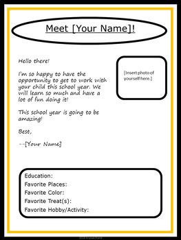 Editable Meet The Teacher Letter Charlie Brown Tribute Colors