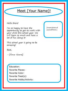Editable Meet the Teacher Letter - Dr. Seuss Tribute Colors