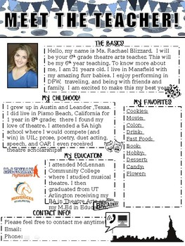 Editable- Meet the Teacher Letter *FOR THEATRE*