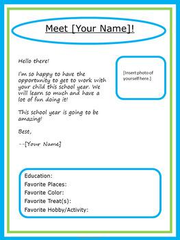 Editable Meet the Teacher Letter - Lime & Aqua