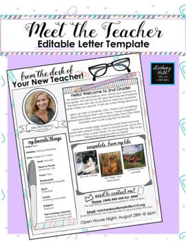 Editable Meet the Teacher Letter (Mint,Coral,&Purple Paperclips Theme)
