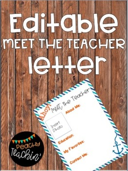 Editable Meet the Teacher Letter - Nautical Theme