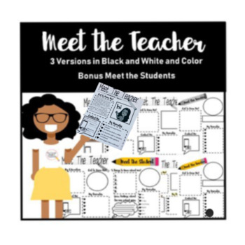 First Day of School Activity Editable Meet the Teacher with Meet the Student