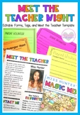 Back to School Meet the Teacher Night Editable Forms, Temp