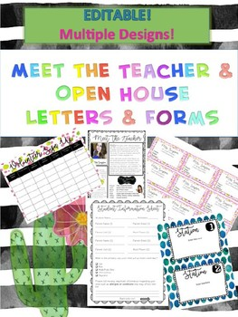 Editable Meet the Teacher Open House Kit! Letter Contact Cards Signs