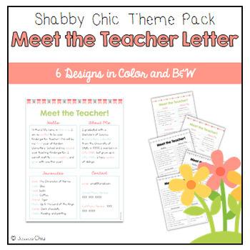Editable Meet the Teacher - Shabby Chic Pack