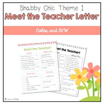 Editable Meet the Teacher - Shabby Chic Theme I