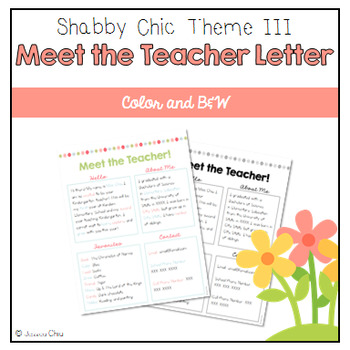 Editable Meet the Teacher - Shabby Chic Theme III