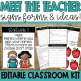 Editable Meet the Teacher Tool Kit: Signs, Forms, and Ideas
