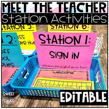 Editable Meet the Teacher Stations and Checklist