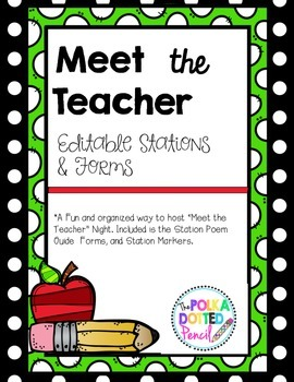 *Editable*  (Updated)Meet the Teacher Stations and Forms