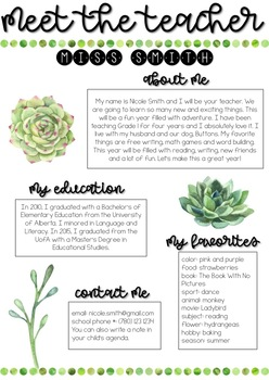 Editable Meet the Teacher - Succulent