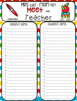 Editable Meet the Teacher Templates with Sign In Sheets by Carrie Lutz