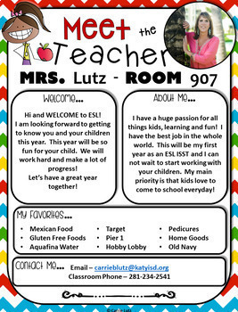 meet the teacher templates editable