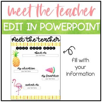Editable Meet the Teacher - Tropical