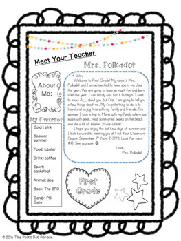 Editable Meet the Teacher Welcome letter