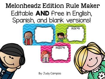 Editable Melonheadz Classroom Rules *English, Spanish, and