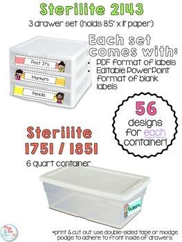 Editable Melonheadz Teacher Toolbox Labels { Over 200 labels! } Sterilite Labels