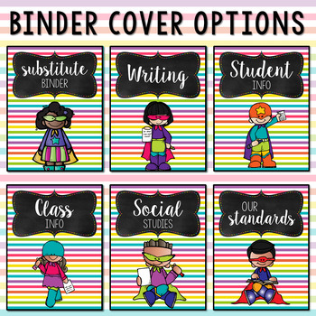 Editable Melonheadz Superhero Binder Covers and Spines Extra Bright