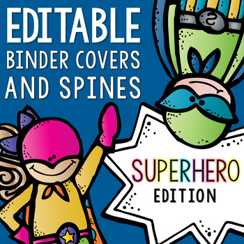 Editable Melonheadz Superhero Binder Covers and Spines on the Side
