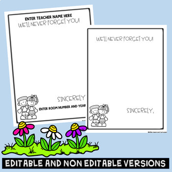 Editable Memory Book For Teacher From Students