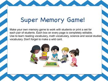 Editable Memory Game