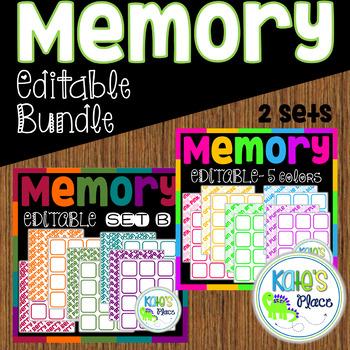 Editable Memory Game Bundle