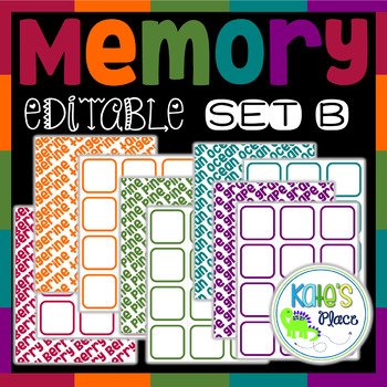 Editable Memory Game- Set B