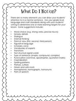 Editable mentor sentence student worksheet by suzanne harrison tpt editable mentor sentence student worksheet ibookread Read Online