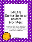 Editable Mentor Sentence Student Worksheet