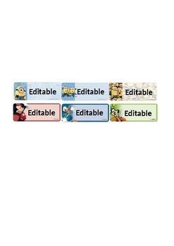 Editable Mickey, Donald, Goofy Name Label
