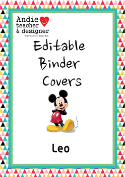 Editable Mickey & Minnie Inspired Binder Covers & Spines Boy/Girl