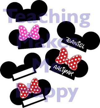 Editable Mickey & Minnie Mouse Name Labels for Cubbies, Desks, Hooks, and more!