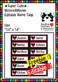 Editable Mickey & Minnie Inspired Name Label