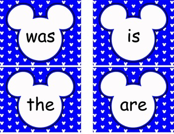 Editable Mickey Word Wall Cards  **** Blue