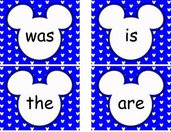 Editable Mickey Word Wall Cards  **** Blue