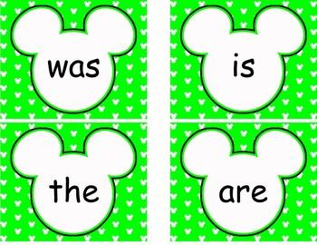 Editable Mickey Word Wall Cards  ****Green