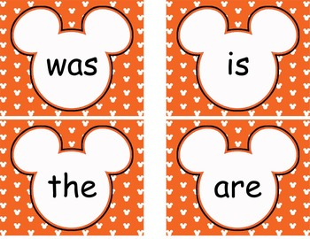 Editable Mickey Word Wall Cards  **** Orange