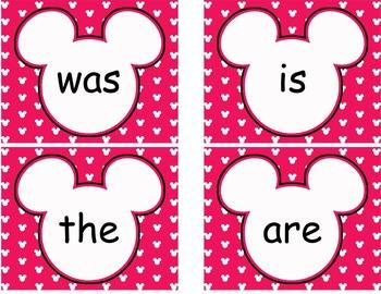 Editable Mickey Word Wall Cards  **** Pink