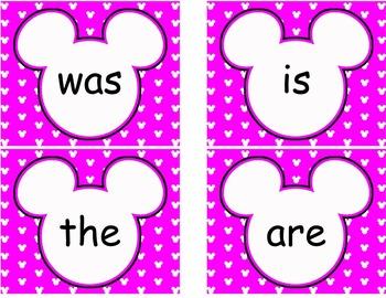 Editable Mickey Word Wall Cards  **** Purple